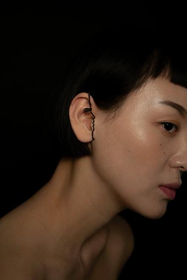 Dina Ear Cuff, Ruthenium Plated