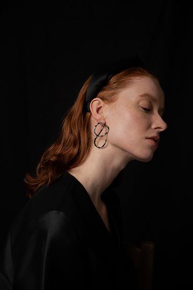 Aino Earrings, Ruthenium Plated