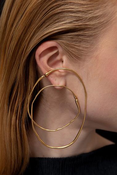 Double Hoop Earrings, 18K Gold Vermeil